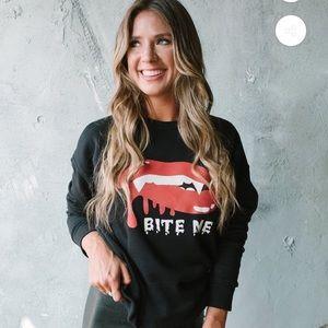 """Kittenish """" bite me"""" sweatshirt"""